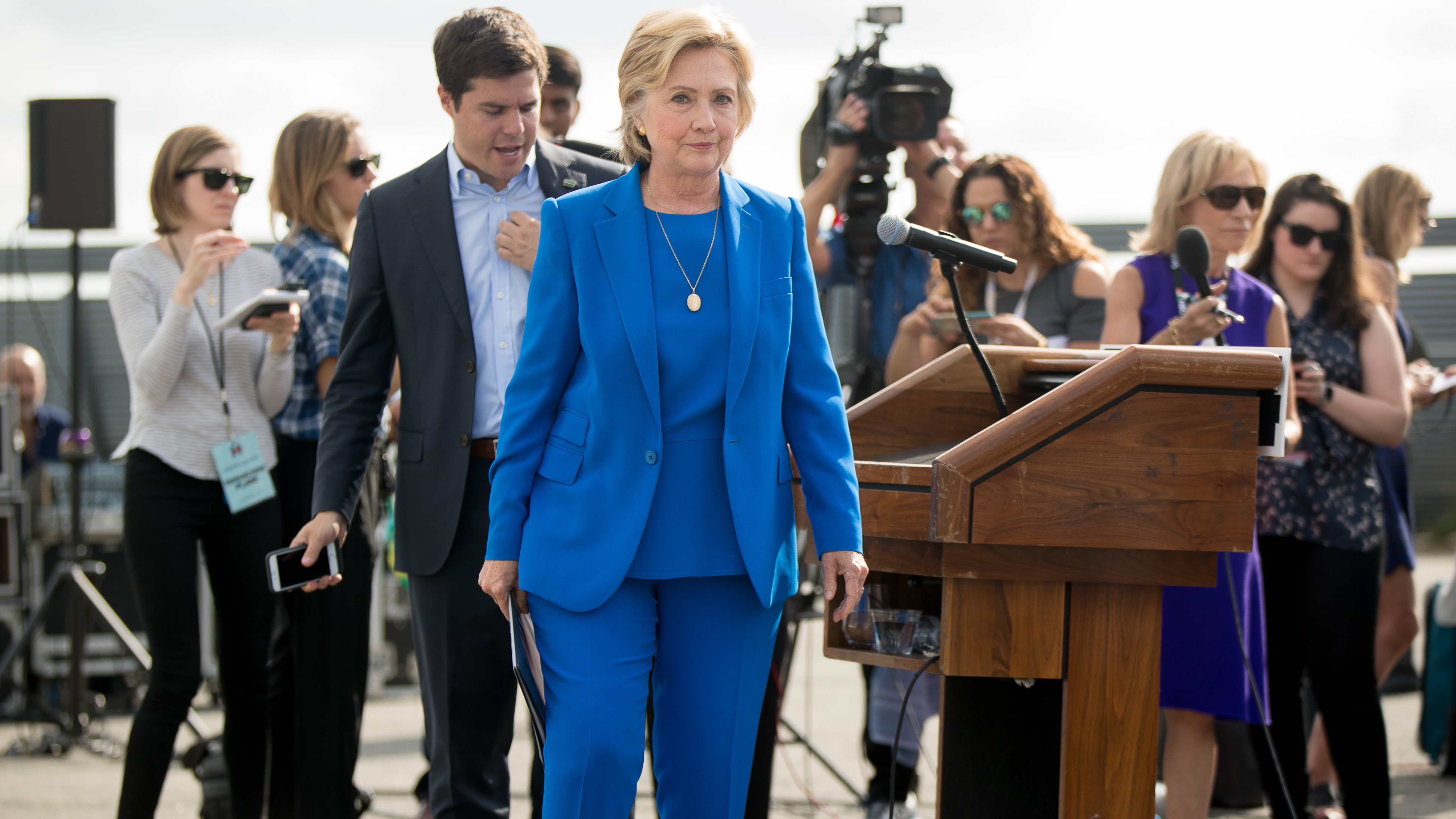 Democratic presidential candidate Hillary Clinton walks towards her campaign plane Thursday in White Plains, N.Y. (Photo by Andrew Harnik/Associated Press)