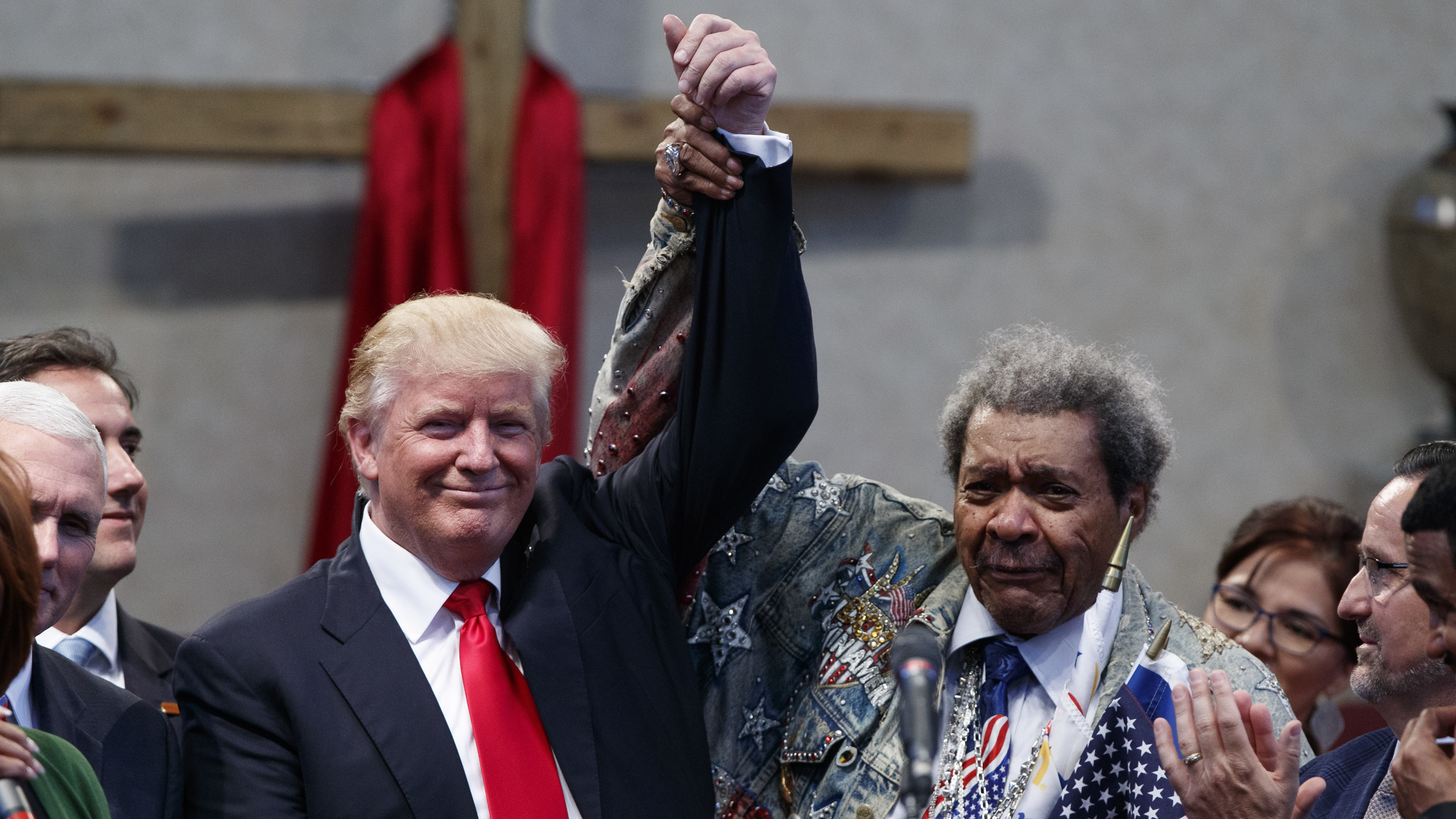 Donald Trump campaigned alongside boxing promoter Don King in Ohio Wednesday. (Photo by Evan Vucci/Associated Press)