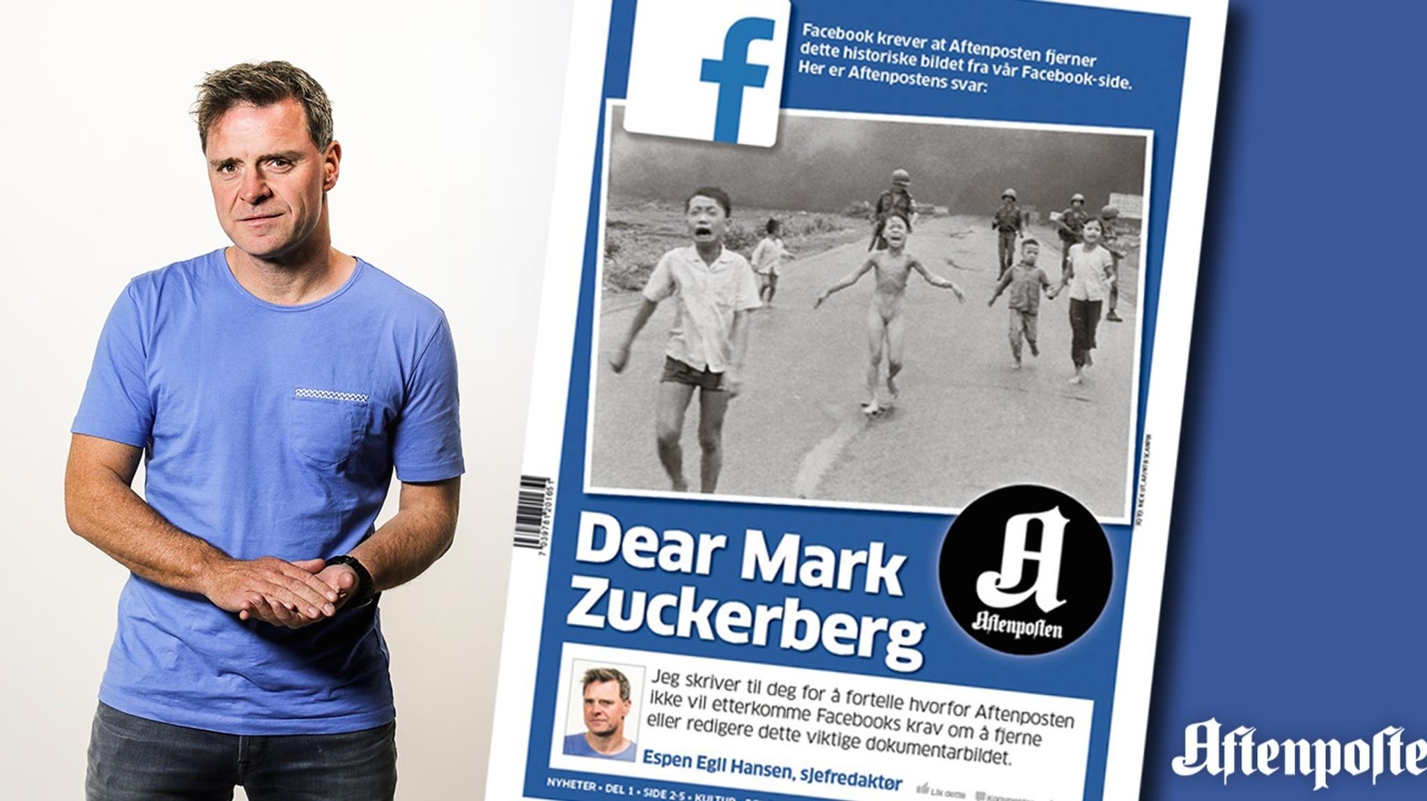 Espen Egil Hansen, the editor-in-chief of Norway's Aftenposten newspaper, addressed Facebook CEO Mark Zuckerberg in a front-page open letter on Friday. Aftenposten