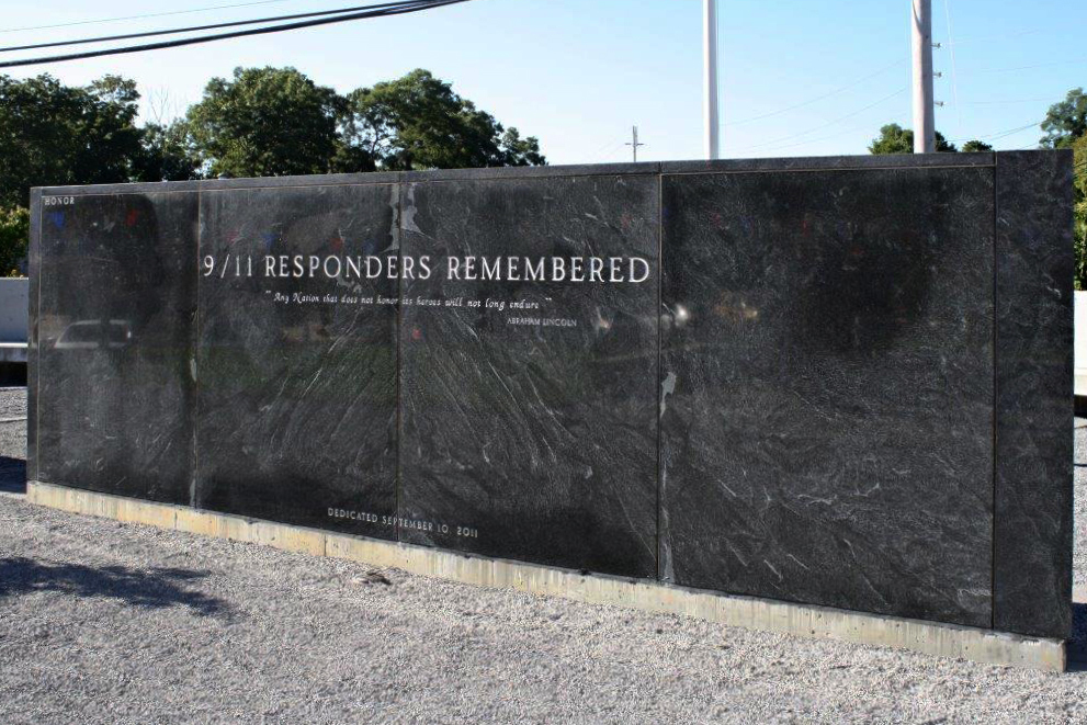 The 9/11 Responders Remembered Memorial in Nesconset, N.Y. John Feal spends 10 hours a day vetting responders for inclusion on the memorial. Courtesy of FealGood Foundation