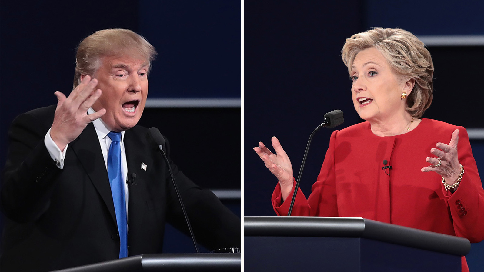 Left: Republican nominee Donald Trump speaks during the presidential debate at Hofstra University on Monday in Hempstead, N.Y. Right: Democratic nominee Hillary Clinton speaks during the debate. (Photo by Drew Angerer/Getty Images)