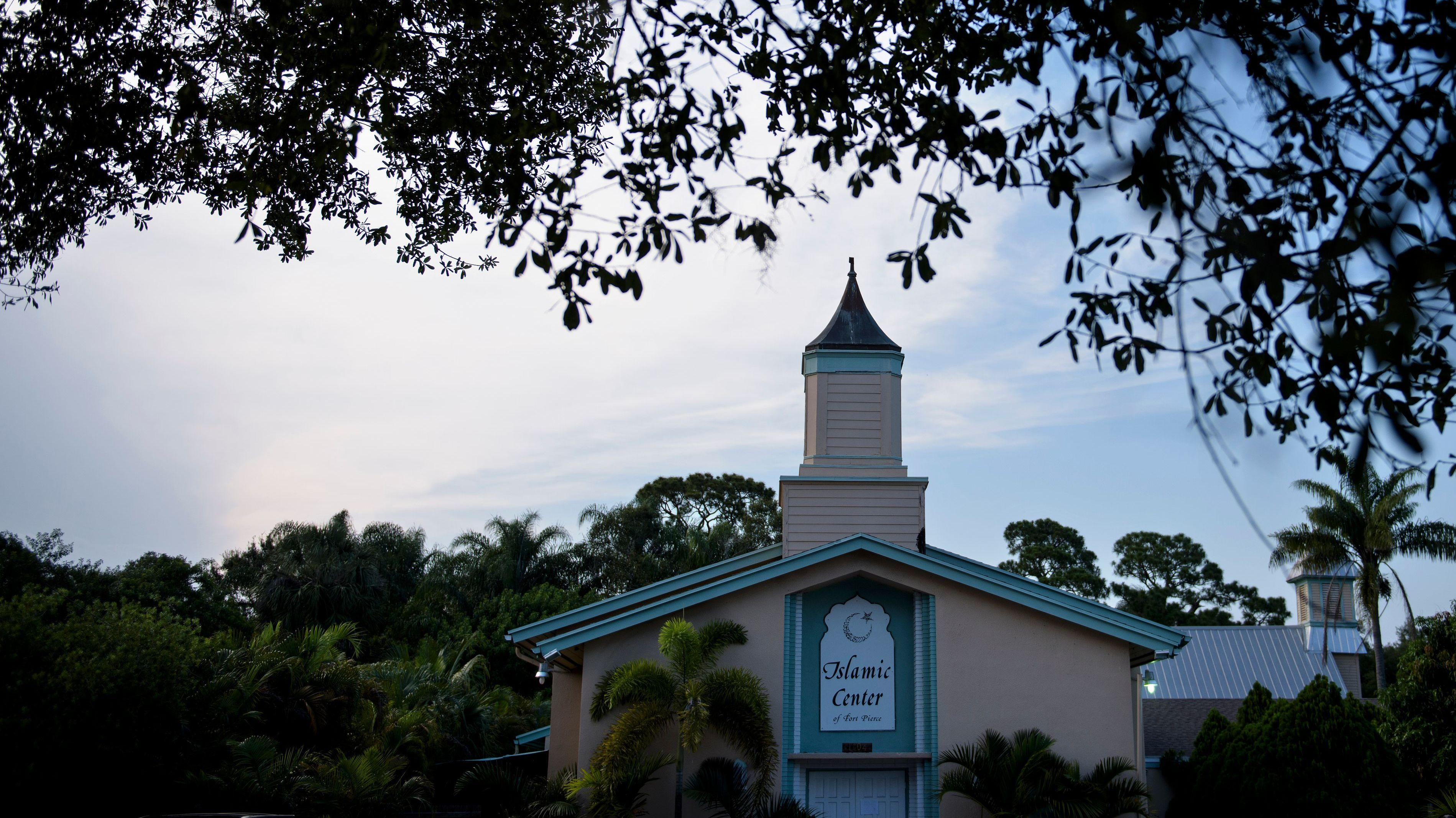 The mosque in Fort Pierce, Fla., where Pulse nightclub shooter Omar Mateen had worshipped, is shown on June 14. A fire broke out at the Islamic Center of Fort Pierce early Monday. (Photo by Brendan Smialowski/AFP/Getty Images)