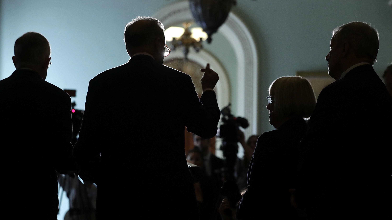 Senate Minority Leader Harry Reid, Sen. Chuck Schumer, Sen. Patty Murray and Senate Minority Whip Richard Durbin speak at a news briefing at the Capitol on Tuesday.