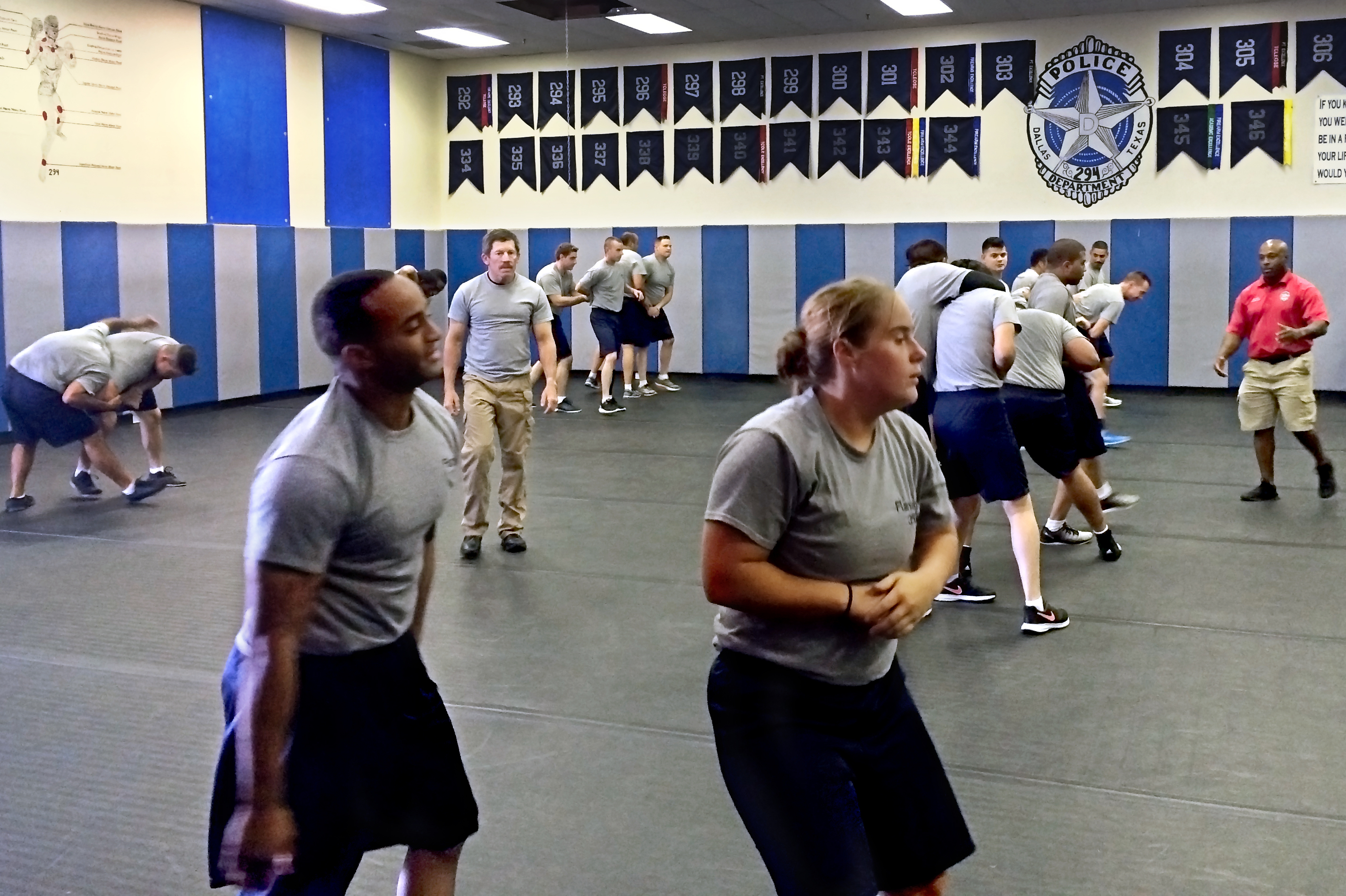 Trainees participate in a tactical defense class at the Dallas Police Basic Training Academy. The officer deaths in July strengthened the camaraderie among recruits training at the academy. (Photo by Yvonne Muther/NPR)