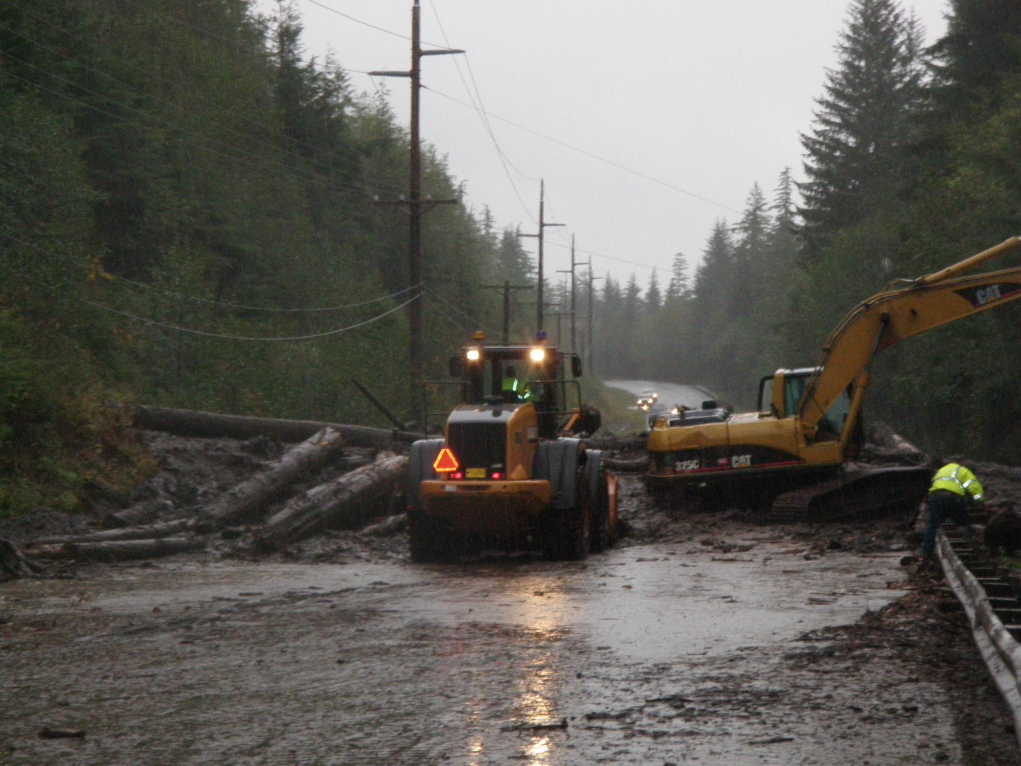Crews worked to clear this landslide that blocked Mitkof Highway in September of 2009. (KFSK file photo)