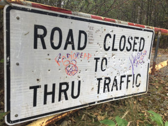 A sign at the end of Glacier Highway in October 2016. The Juneau Access Improvements Project extension would begin here.