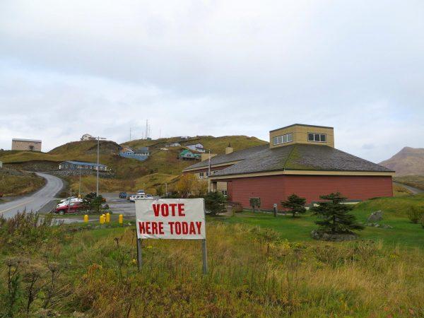 Election Day at Unalaska City Hall.(Photo by Laura Kraegel, KUCB)