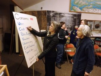 Debra Schnabel ranks concerns for the waterfront trail project.