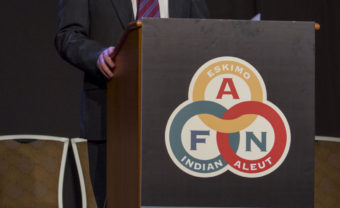 U.S. Sen Dan Sullivan addresses the Alaska Federation of Natives Convention, Oct. 15 (Photo by Mikko Wilson/KTOO)