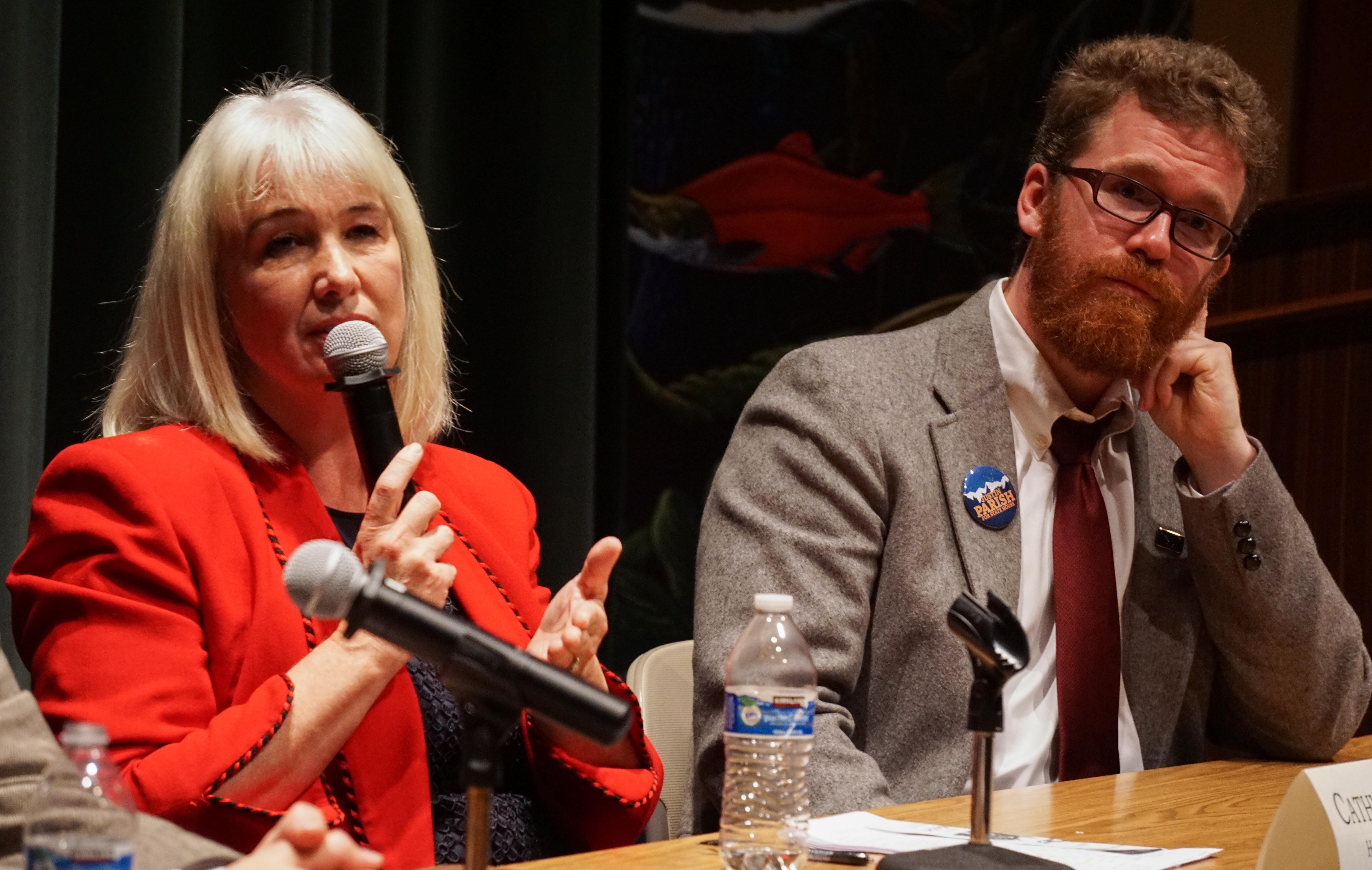 Cathy Munoz and Justin Parish at Juneau Votes Statehouse Candidates Debate 2016 10 13