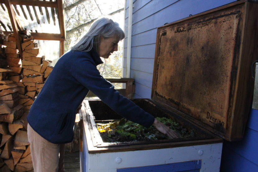 "Ann Dombkowski calls her bin the ""worm yacht."" (Photo by Elizabeth Jenkins/KTOO)"