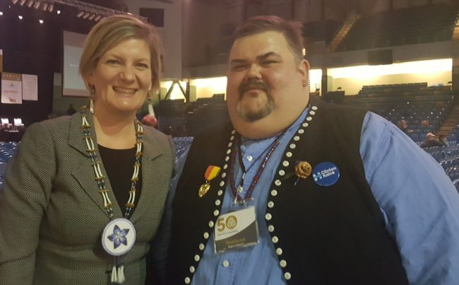 Alaska Attorney General Jahna Lindemuth and Central Council President Chalyee Éesh Richard Peterson at the 2016 Alaska Federation of Natives convention in Fairbanks. (Photo by Jennifer Canfield)