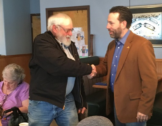 Libertarian candidate for U.S. Senate Joe Miller meets supporters during a campaign trip to Ketchikan. (Photo by Leila Kheiry/KRBD)