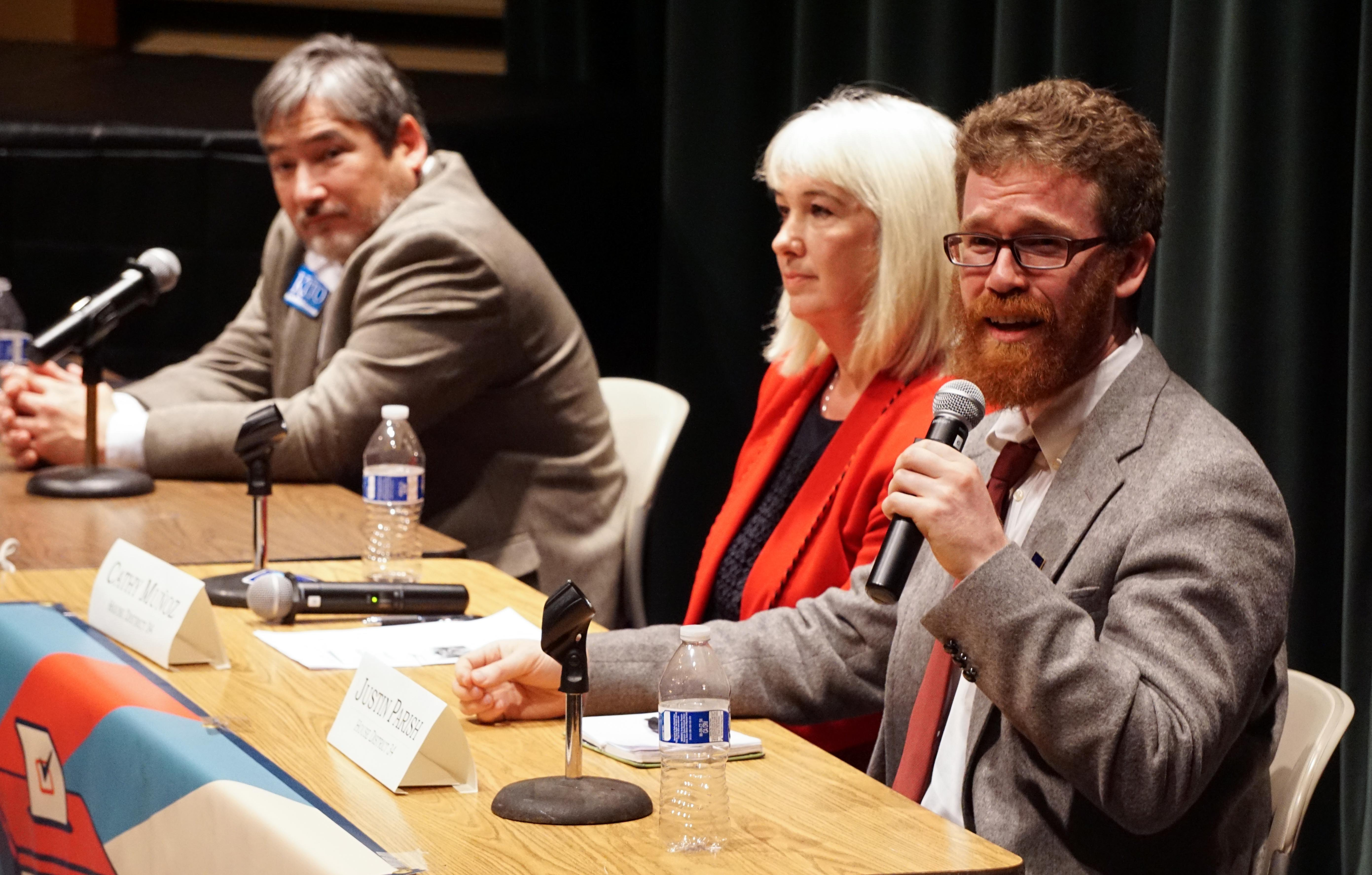 Justin Parish, Cathy Munoz and Sam Kito III at Juneau Votes Statehouse Debate 2016 10 13