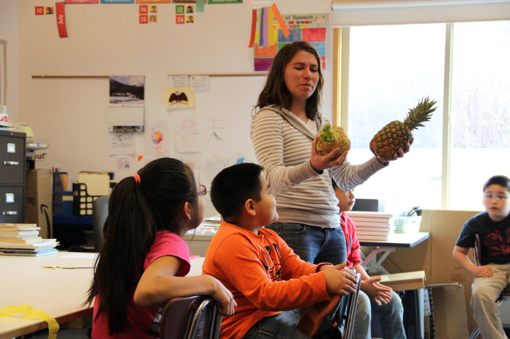 Meredith Pochardt teaches about local foods in Angoon. (courtesy of Southeast Alaska Watershed Coalition) Meredith Pochardt teaches about local foods in Angoon. (Photo courtesy of Southeast Alaska Watershed Coalition)