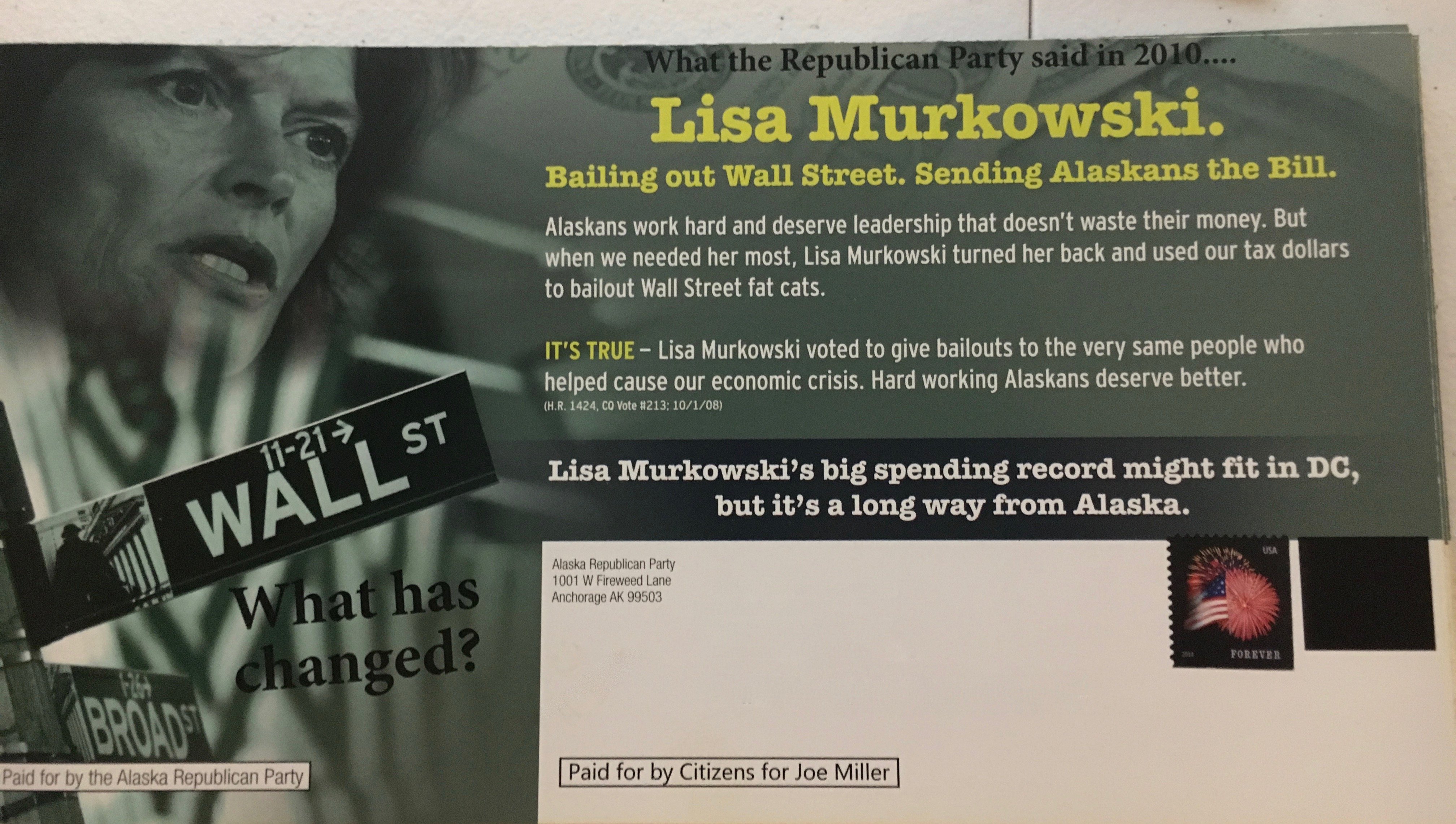 The Joe Miller campaign obtained 2010 GOP fliers and sent them, with a few modifications. (Image courtesy Miller campaign)