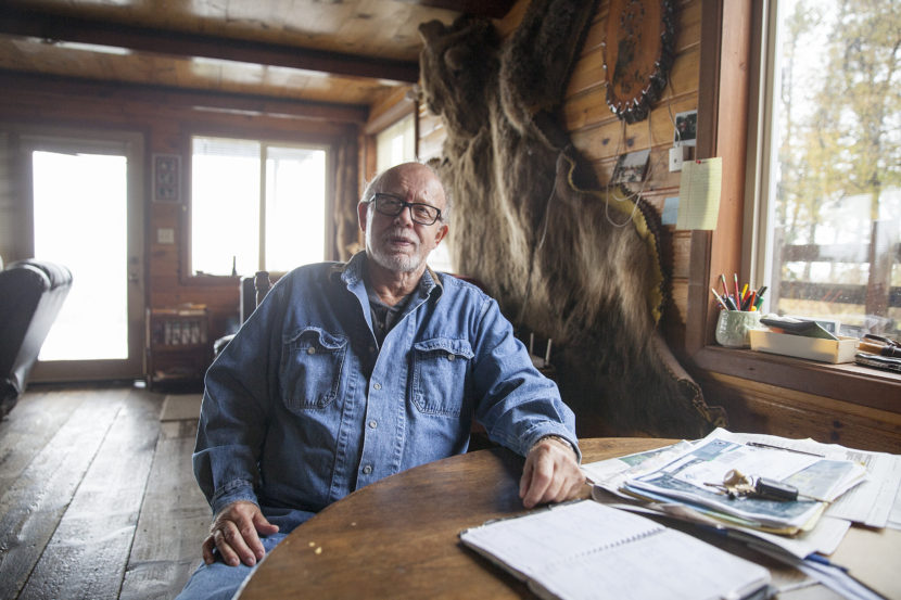 Bill Warren, in the home on land he says he was negotiating to sell to the Alaska LNG project on Sept. 25, 2016 in Nikiski, Alaska. Warren, and others in Nikiski, say they are unsure what will happen to their land as the project transitions to state control. (Photo by Rashah McChesney/Alaska's Energy Desk)