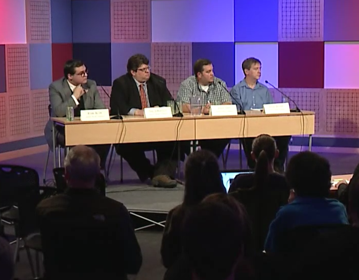 School board candidates sit for election debate. (Courtesy of 360 North)