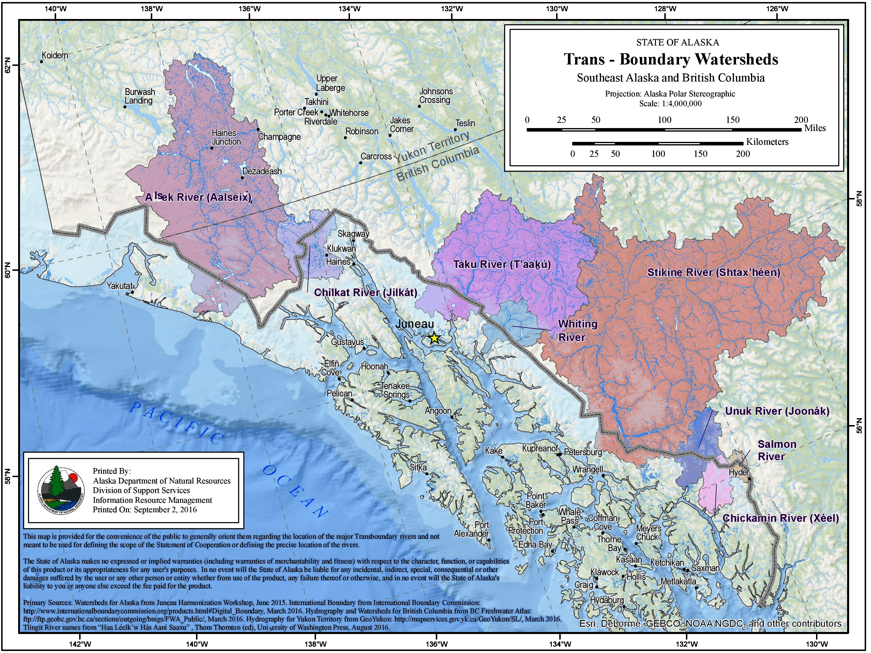 The state has identified eight transboundary watersheds feeding Southeast Alaska rivers. (Map by Alaska Department of natural Resources.)