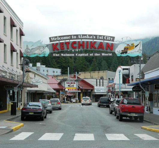 Ketchikan's Welcome Arch on Mission Street. (KRBD file photo)