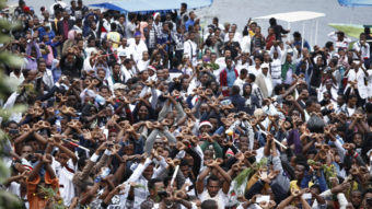 In a scene from Sunday, Oct. 2, festival-goers chant slogans against the government during a march in Bishoftu, Ethiopia. A week of violence prompted the country to declare a state of emergency. AP