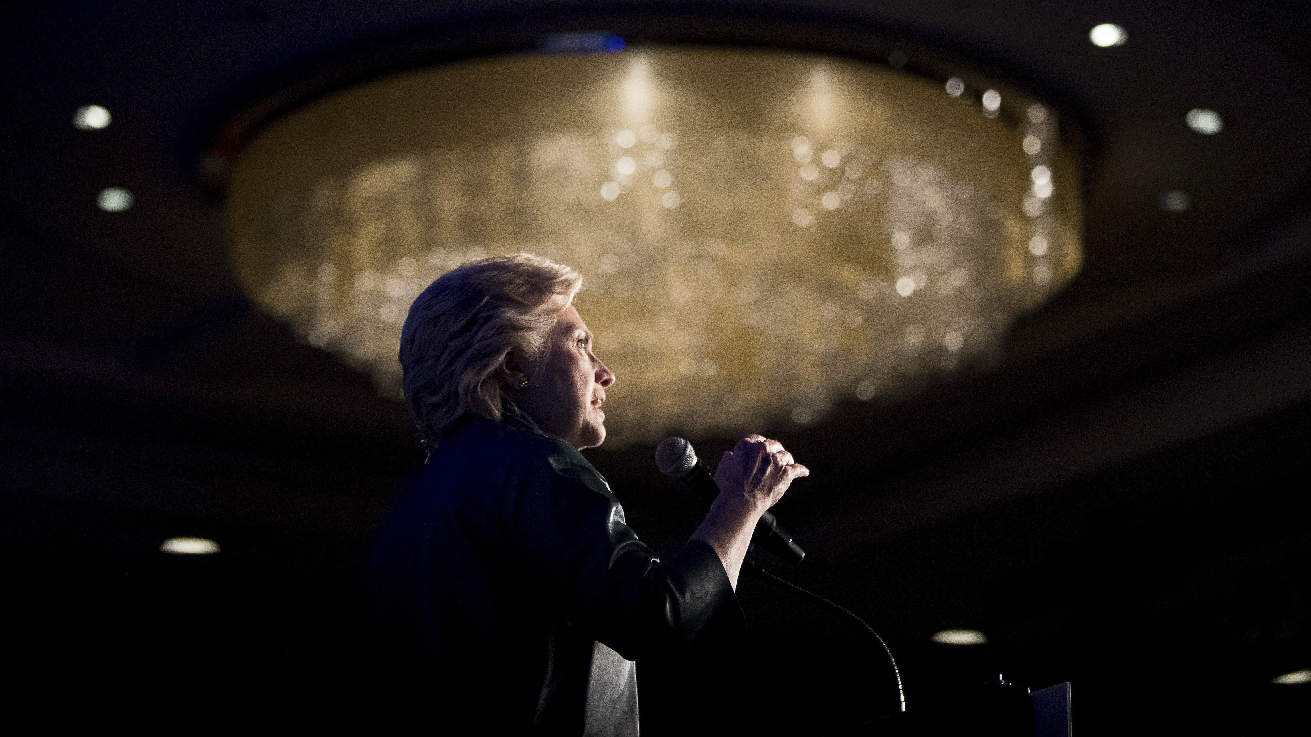 Democratic presidential candidate Hillary Clinton speaks at a fundraiser in Washington, D.C., on Oct. 5. Andrew Harnik/AP