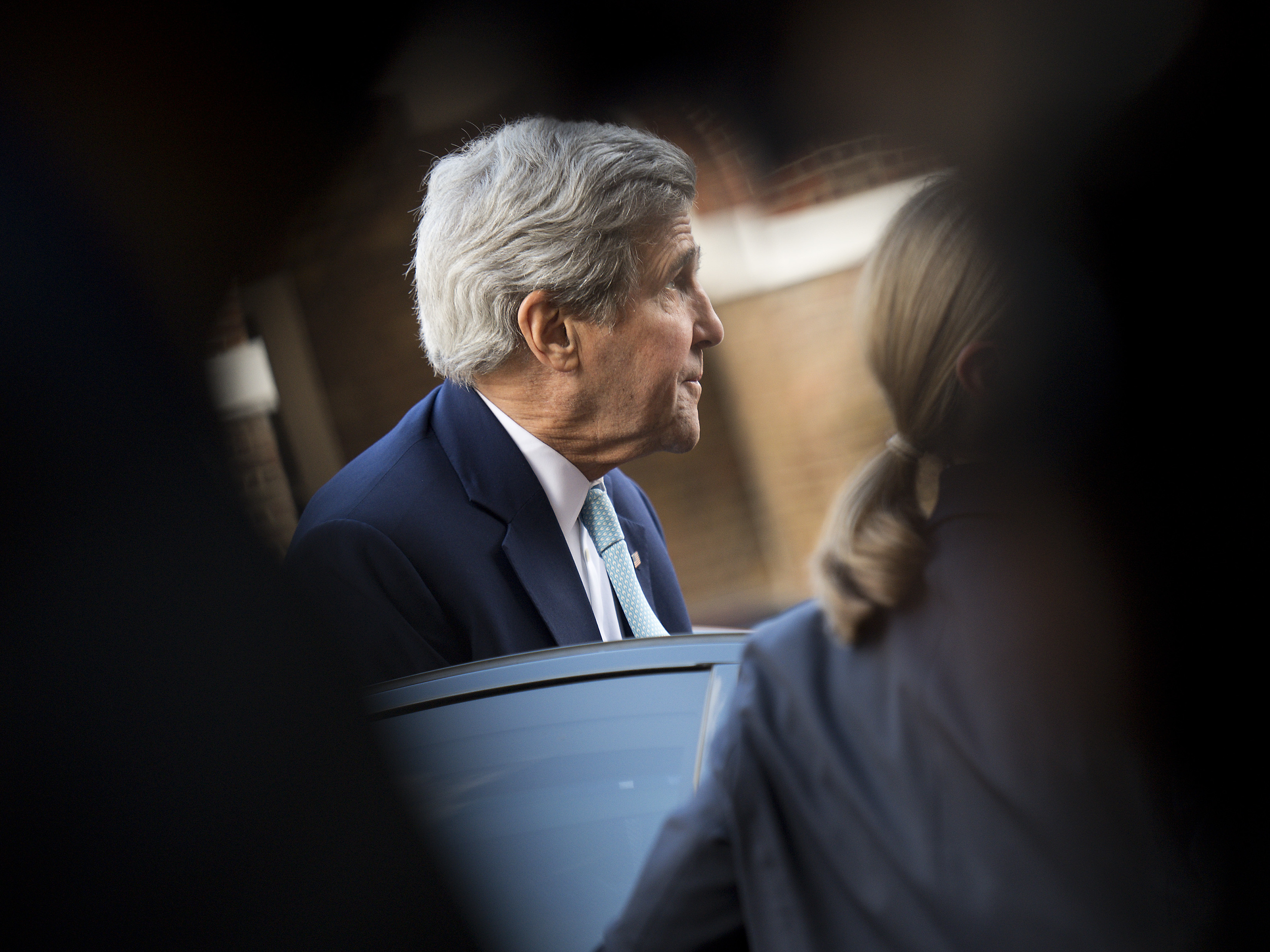 U.S. Secretary of State John Kerry, at Lancaster House in London on Sunday. Justin Tallis/AP