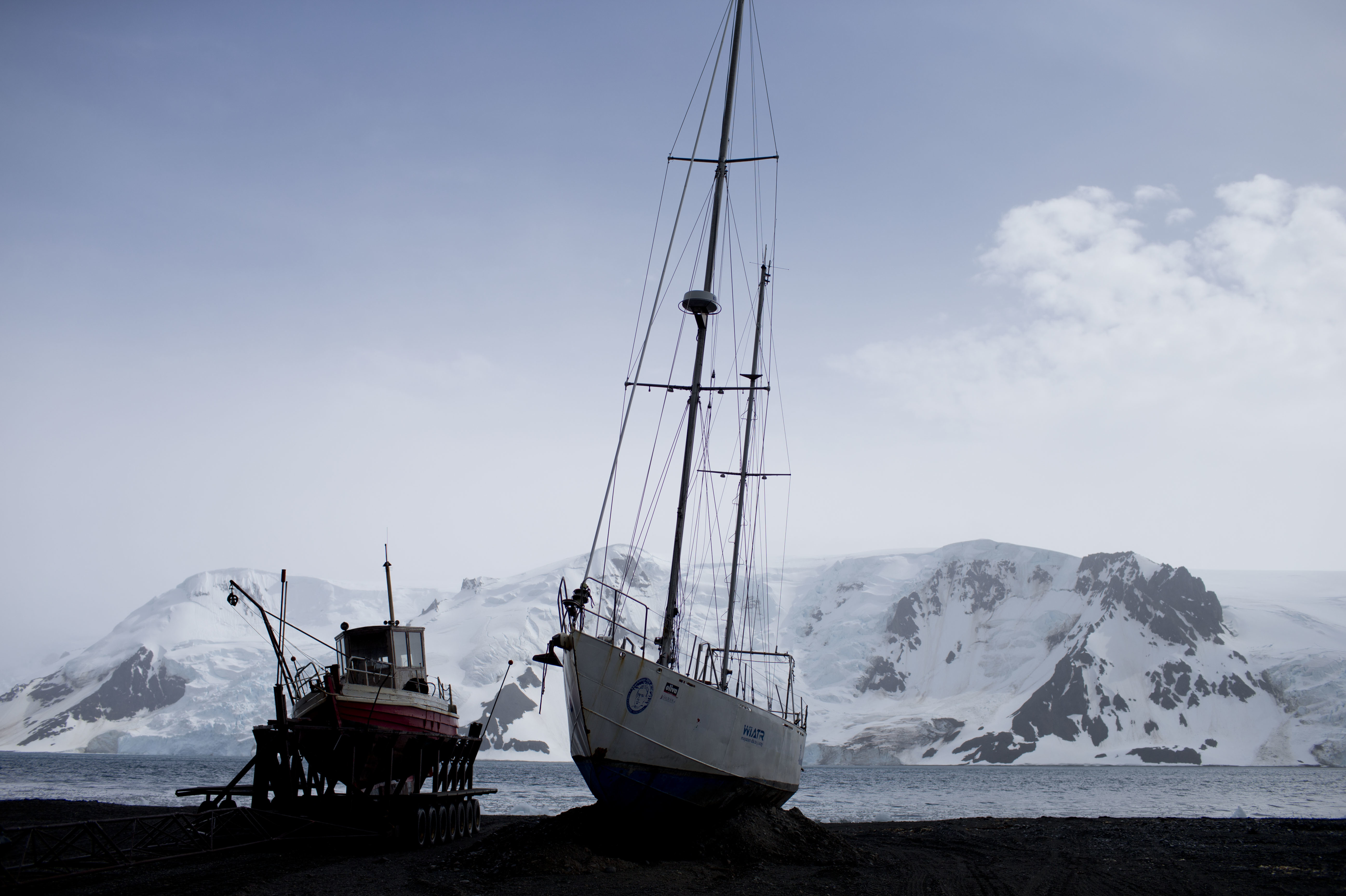 Boats sit on the beach at Bahia Almirantazgo in Antarctica. An agreement was reached on Friday to create the world's largest marine protected area in the ocean next to the frozen continent. Natacha Pisarenko/AP