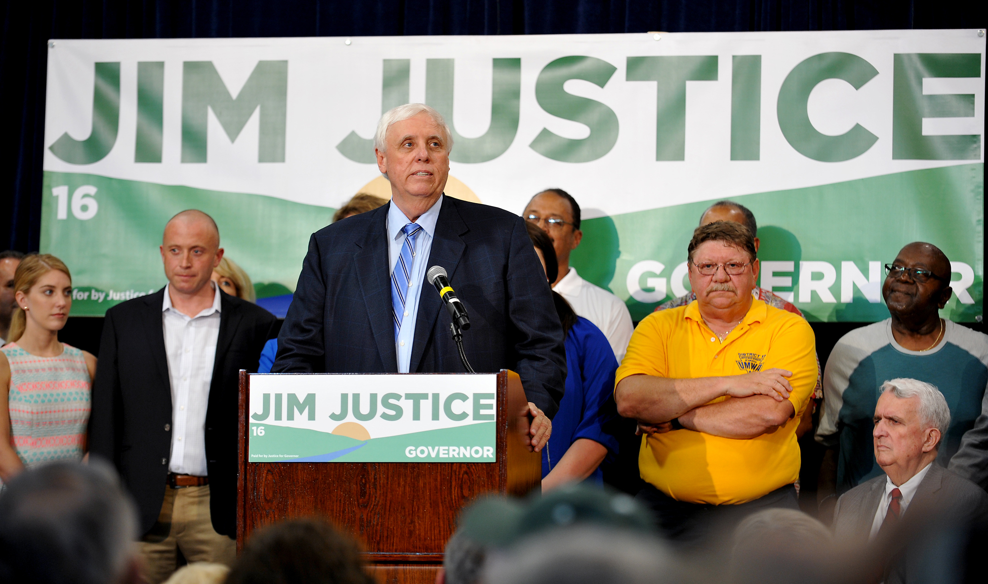West Virginia billionaire businessman Jim Justice announced his run for governor of West Virginia as a Democrat in White Sulphur Springs, W.Va., on May 11, 2015.