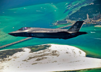 An F-35 flies over Florida (U.S. Air Force photo)