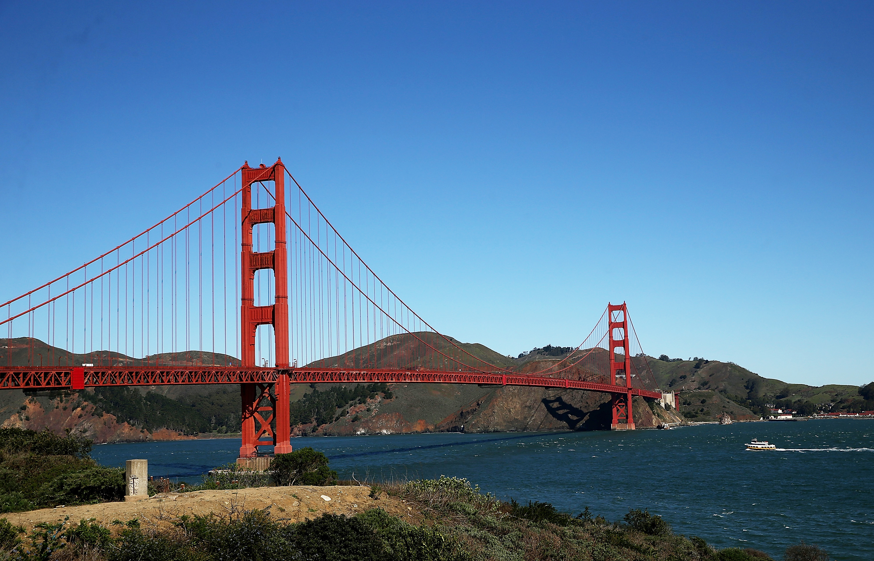 The Golden Gate Bridge stands over San Francisco Bay in 2014. Bridge officials have rolled out a crisis text hotline to encourage young people to reach out for help.