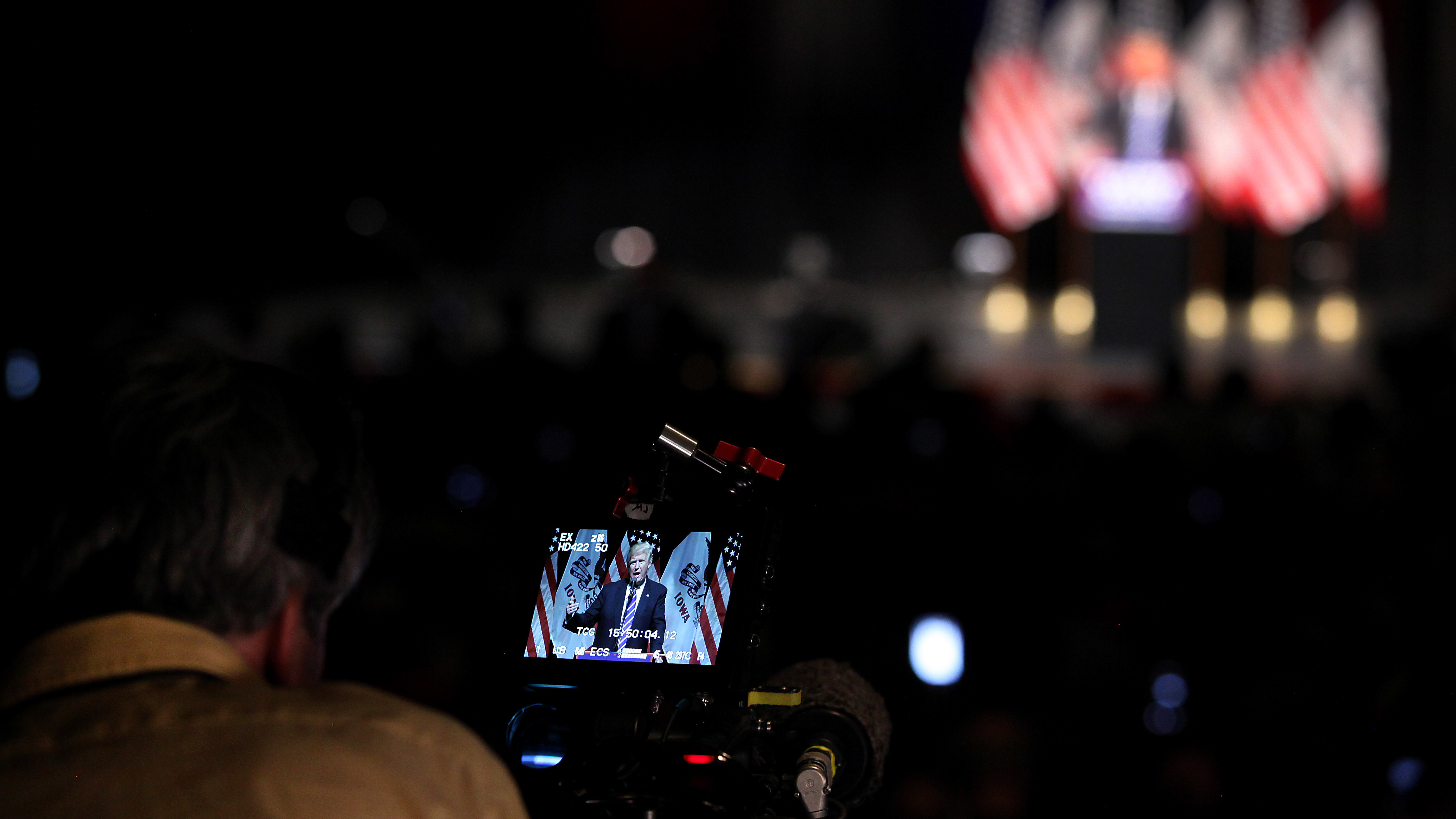 Republican presidential candidate Donald Trump seen on a camera monitor during a campaign this summer.