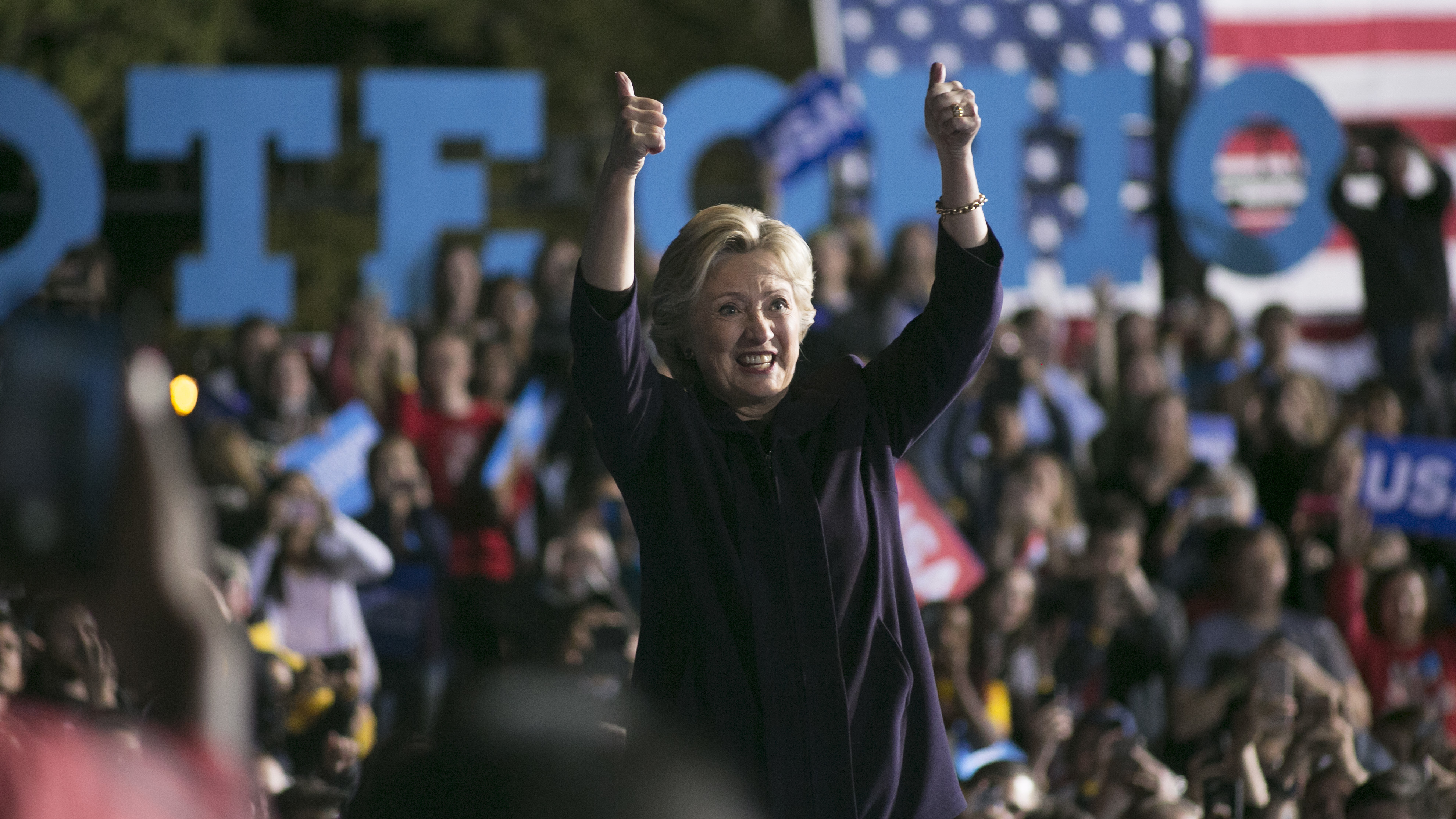 Hillary Clinton waves to the crowd after speaking at The Ohio State University on Monday. It was her largest crowd of the entire campaign.