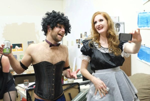 """Alex Thompson and Melissa Patterson chat backstage during Gold Town Nickelodeon's screening of """"Rocky Horror Picture Show"""" last year."""