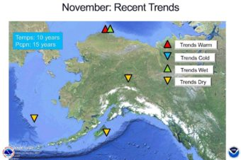 The National Weather Service has kept records for than a century on Alaska's weather, but Thoman relies on more recent trends for his 2016-17 winter forecast: the past 10 years of temperature data and 15 years of precipitation data. The data suggest there will be less precipitation next month in the Interior but more along the Arctic Ocean coast, and warmer temperatures..