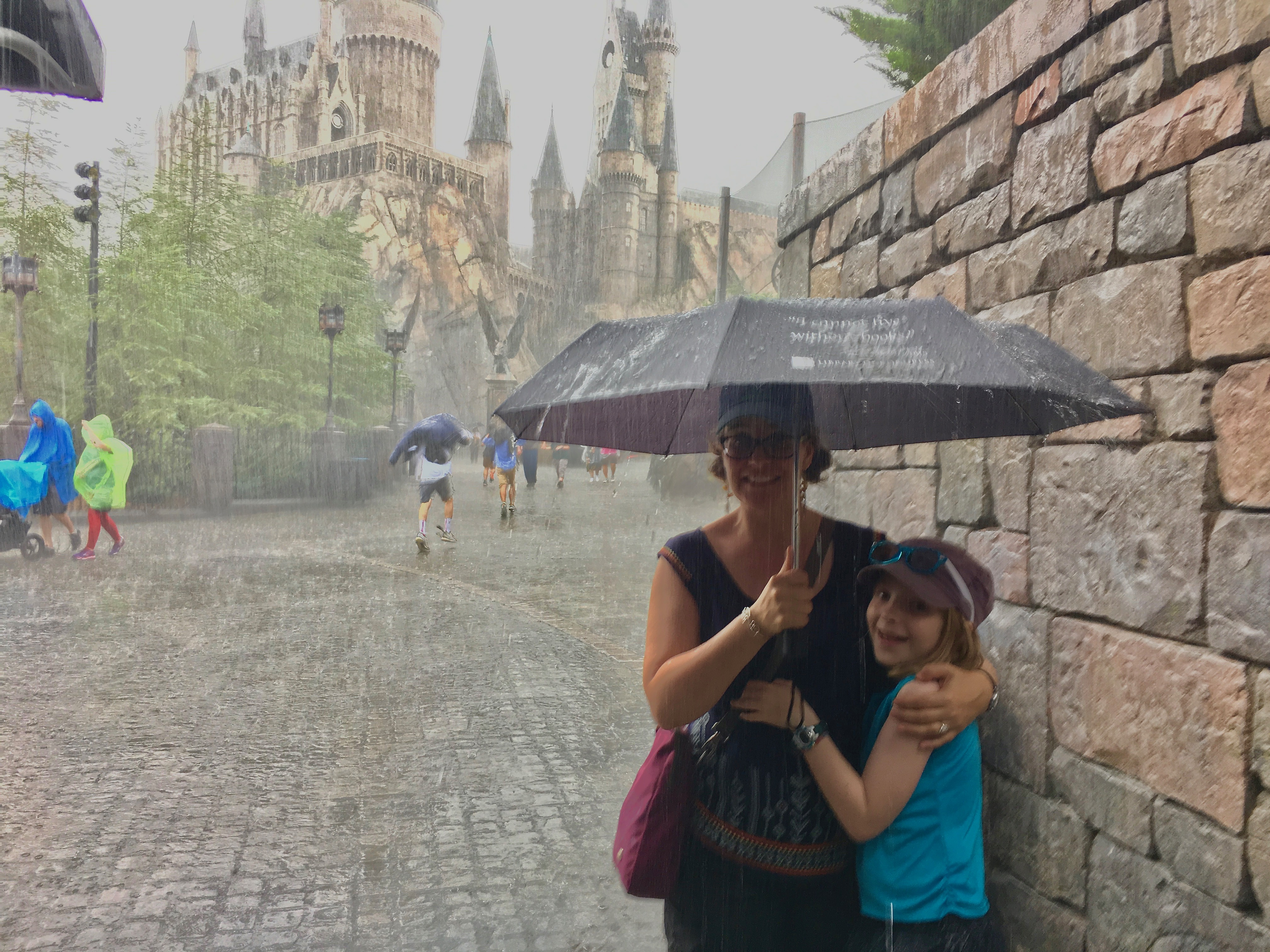 Cloud bursts greeted the Stanley family during their visit to Orlando, Florida.