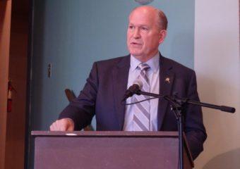 Gov. Bill Walker speaks in Haines. (Photo by Emily Files/KTOO)