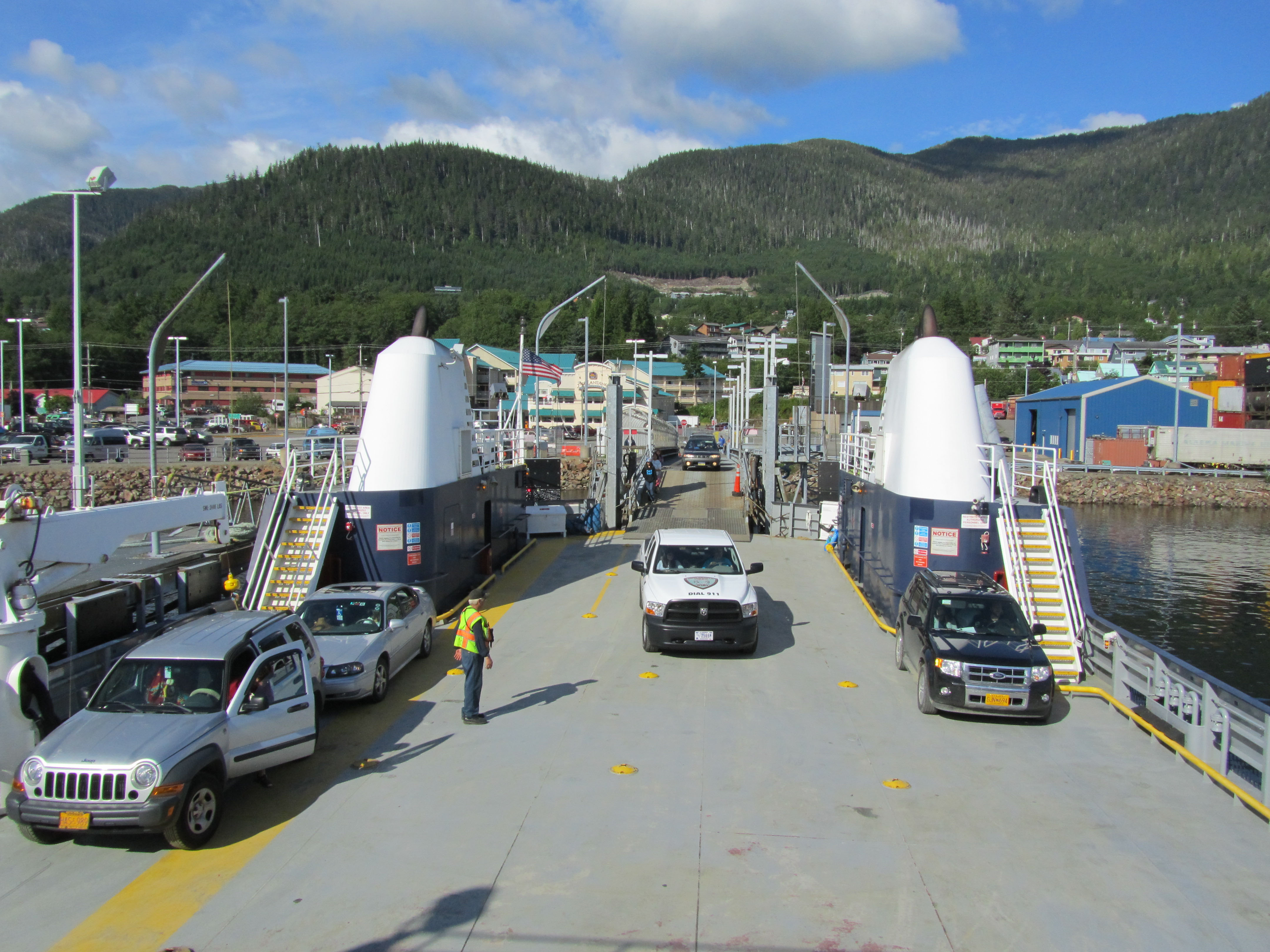 The ferry Lituya loads vehicles onto its car deck at the Ketchikan Ferry Terminal before sailing to Metlakatla. (Photo by Linda Hall/Alaska DOT&PF)