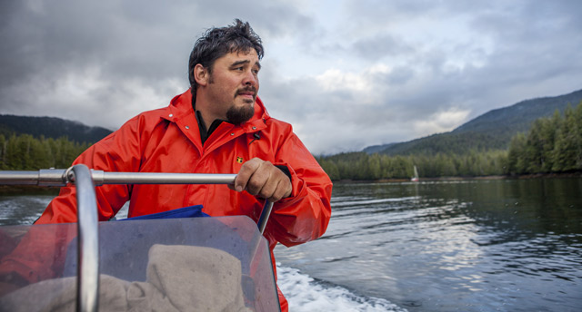 Hydaburg Mayor Tony Christianson in Eek Inlet off Prince of Wales Island in Southeast Alaska. (Photo courtesy The Nature Conservancy)