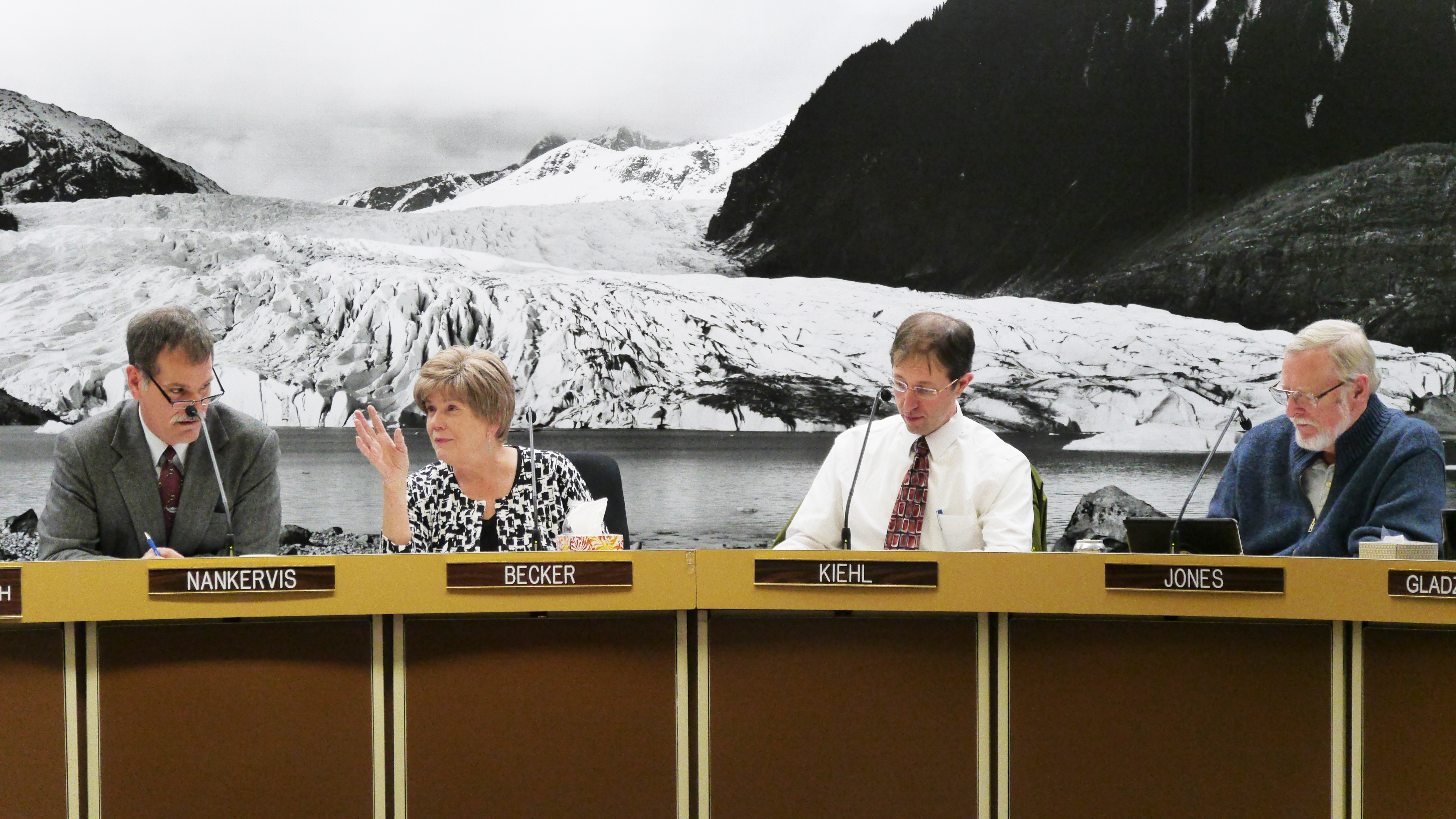 The Juneau Assembly discuss a proposed fireworks ordinance at its work session Oct. 31, 2016. (Photo by Lakeidra Chavis/ KTOO)