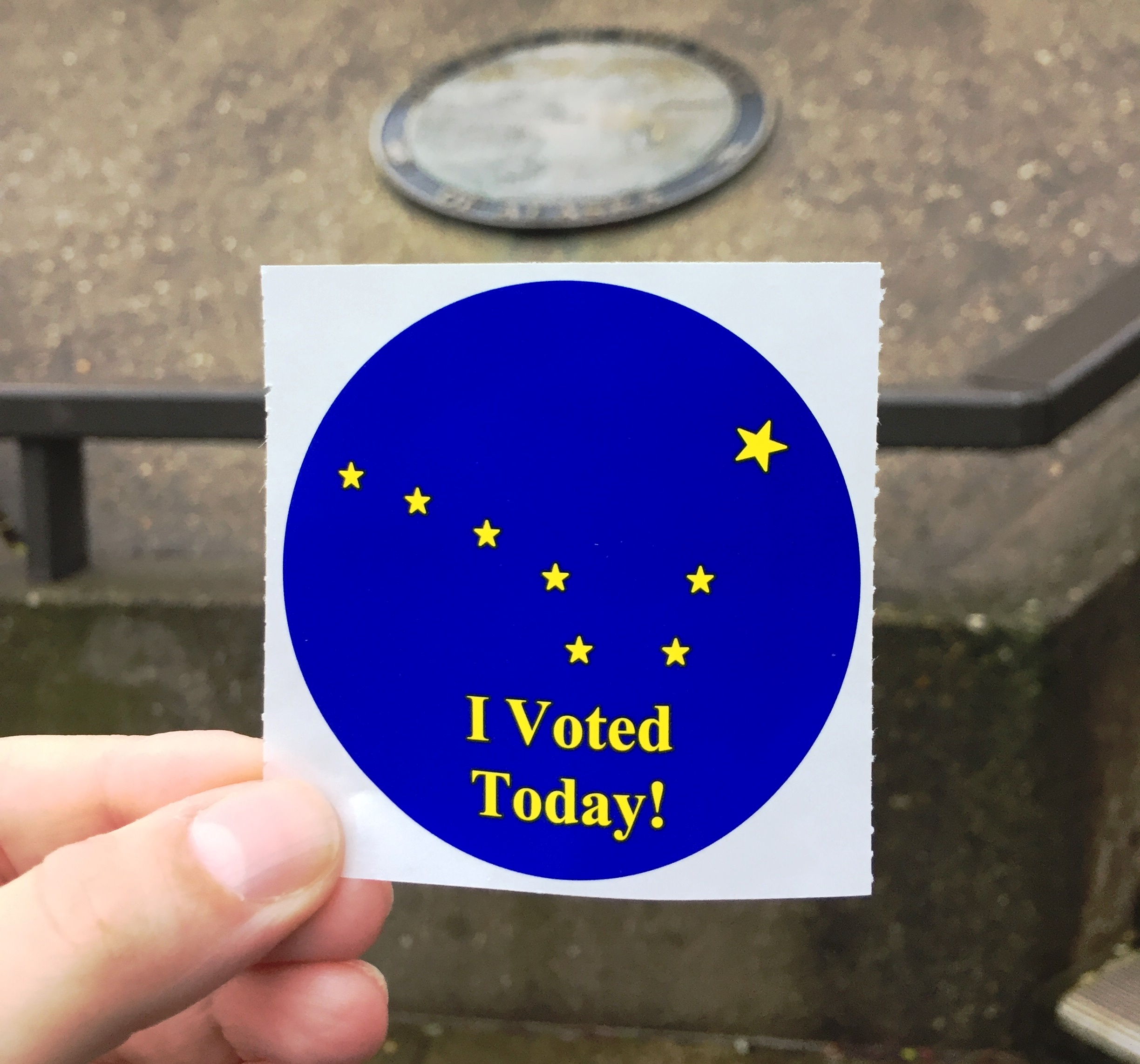 I Voted Today stickers were popular accessories on Tuesday, election day in Alaska. (Photo by Maggie Schoenfeld)