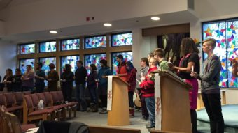 Community members gather for the Transgender Day of Remembrance on Nov. 20, 2016. (Photo by Anne Hillman/Alaska Public Media)