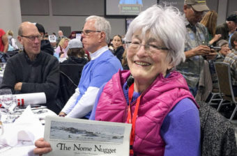 Nancy McGuire, the longtime editor and publisher of The Nome Nugget, at the Iditarod banquet in Anchorage, March 2016. (Photo by John Handeland, via The Nome Nugget and its Facebook page.)