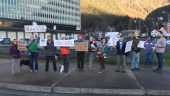 Locals in Juneau protest the Dakota Access Pipeline project outside the offices of U.S. Sens. Lisa Murkowski and Dan Sullivan, Nov. 15, 2016. (Photo courtesy Larry West)