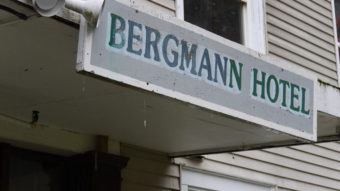 Sign above the Bergmann Hotel's front door.