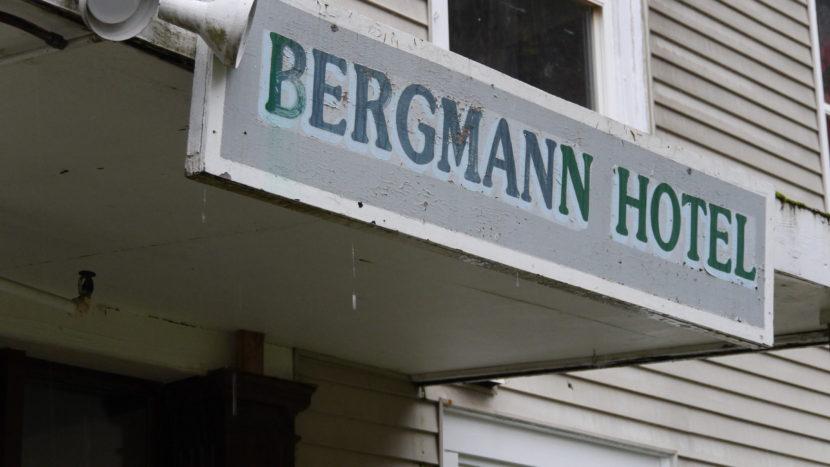 Sign above the Bergmann Hotel's front door.