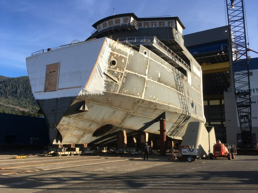 The forward half of the Alaska Class Ferry Tazlina moved out of the assembly hall at the Vigor Alaska shipyard in Ketchikan. (Photo by Leila Kheiry/KRBD)