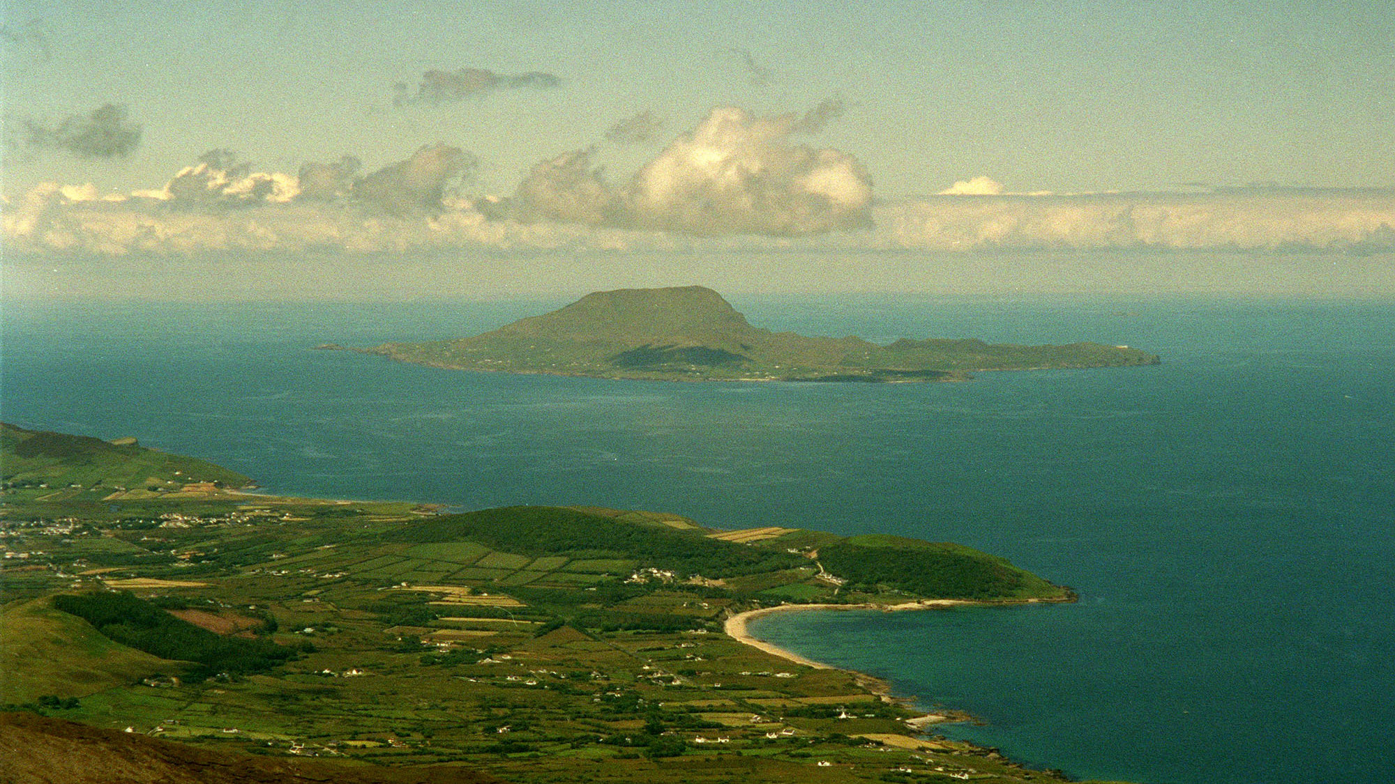 The view from a peak in County Mayo, Ireland. An island off the coast is inviting any Americans afraid of the election results to move there, and grow their population. David Pace/AP