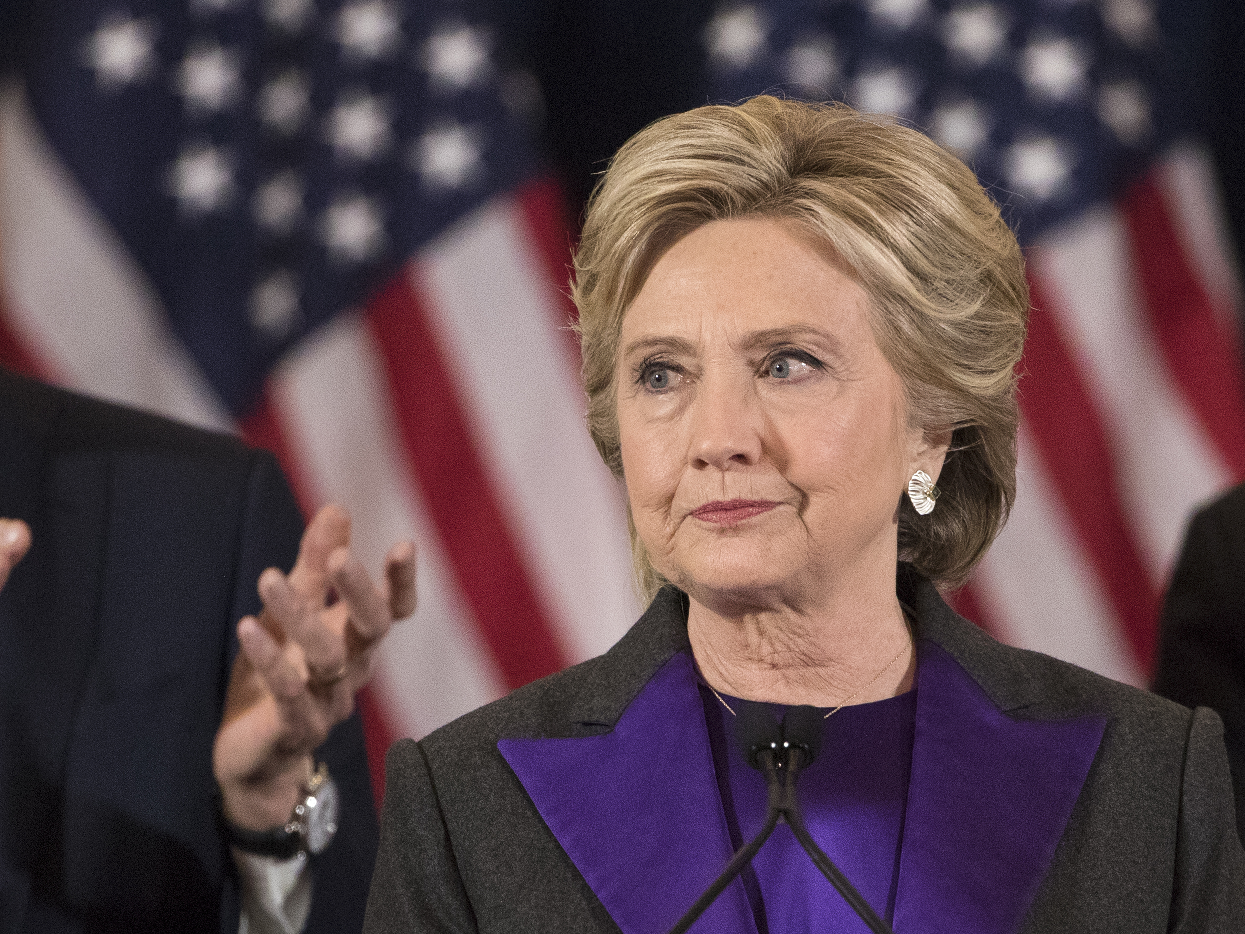Democratic presidential candidate Hillary Clinton delivers her concession speech in New York on Nov. 9. Her campaign announced Saturday it will back recount efforts in three states. Matt Rourke/AP