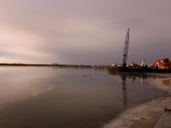 The Kuskokwim river from the seawall in Bethel. There was no snow and ice was barely visible in the warm November of 2014. (Photo by Dean Swope/KYUK)
